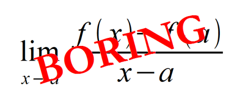Derivative formula, the word boring superimposed