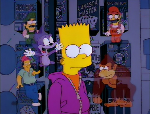 Bart's conscience: Mario, Luigi, Donkey Kong, Sonic, and Lee Carvallo
