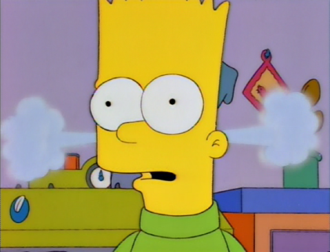 Bart's shocked, and steam shoots out his ears from the teapot behind him
